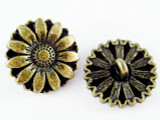 Brass Flower Button - Pewter Pendant 17mm (PW1129)