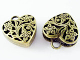 Brass Heart - Pewter Pendant 22mm (PW1139)