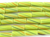 Lemon Lime Striped Glass Tube Beads 15mm (T812)