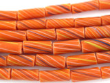 Burnt Orange Striped Glass Tube Beads 15mm (T816)