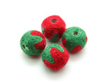 Cotton Wrapped Bead - Red & Green 15mm (CT156)