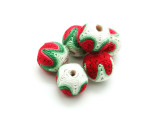 Cotton Wrapped Bead - White, Green & Red 15mm (CT161)