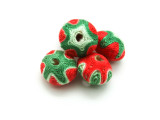 Cotton Wrapped Bead - Red, Green & White 19mm (CT163)