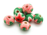 Cotton Wrapped Bead - Green, Red & Pink 19mm (CT166)