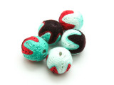 Cotton Wrapped Beads (Pack of 5) - Purple, Red & Teal 15mm (CT216)