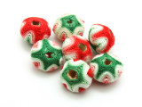 Cotton Wrapped Bead - Red, Pink & Green 19mm (CT167)