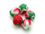 Cotton Wrapped Beads (Pack of 5) - Pink, Red, Green & White 15mm (CT217)