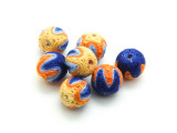 Cotton Wrapped Bead - Blue, Orange & Yellow 14mm (CT170)