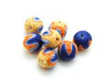 Cotton Wrapped Bead - Blue, Orange & Yellow 14mm (CT170)