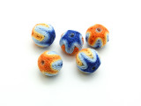 Cotton Wrapped Bead - Orange, Yellow, Light Blue & Blue 14mm (CT171)