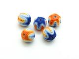 Cotton Wrapped Bead - Orange, Yellow, Light Blue & Blue 14mm (CT171)