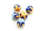 Cotton Wrapped Bead - Yellow, Orange, Blue & Light Blue 14mm (CT173)