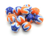 Cotton Wrapped Bead - Orange, Light Blue & Blue 14mm (CT175)