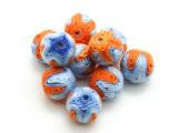 Cotton Wrapped Bead - Orange & Light Blue 14mm (CT177)