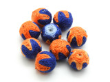 Cotton Wrapped Bead - Blue & Orange 14mm (CT178)