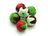 Cotton Wrapped Beads (Pack of 6) - Green, Purple, Red &  Yellow 15mm (CT230)
