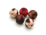 Cotton Wrapped Beads (Pack of 5) - Red, Brown & Tan 15mm (CT231)