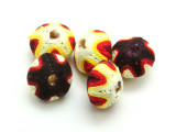Cotton Wrapped Bead - White, Yellow, Red & Purple 14mm (CT182)