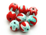 Cotton Wrapped Bead - Red, Teal & White 15mm (CT192)
