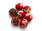 Cotton Wrapped Bead - Brown, Tan & Red 15mm (CT196)