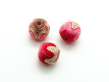 Cotton Wrapped Bead - Tan & Pink 15mm (CT197)