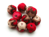Cotton Wrapped Bead - Red, Brown & Tan 15mm (CT199)