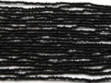 "Small Black Glass Beads - 44"" strand (JV9050)"