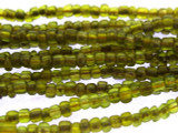 "Transparent Olive Green Glass Beads - 44"" strand (JV9061)"