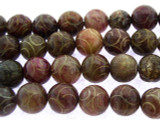 Etched Jade Round Gemstone Beads 10mm (GS3281)