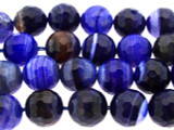 Blue Faceted Round Agate Gemstone Beads 11mm (GS3301)