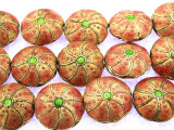 Cloisonne Beads - Peach Coin 15mm (CS256)