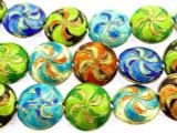 Cloisonne Beads - Multi-Color Coin 18mm (CS263)