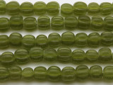 Lime Green Fluted Glass Beads 8-10mm (JV931)