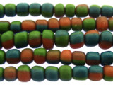 Blue, Red & Green Irregular Glass Beads 4-6mm (JV981)