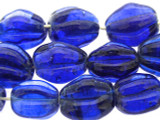 Cobalt Blue Fluted Glass Beads 18mm (JV935)