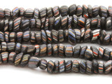 Black w/Stripes Glass Beads 13mm (JV985)