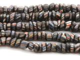 Black w/Stripes Glass Beads 13mm (JV985)