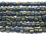 Blue w/Yellow Stripes Glass Beads 4-5mm (JV1002)