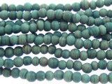 Teal w/Stripes Irregular Round Glass Beads 3-4mm (JV1010)