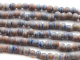 Blue-Gray w/Stripes Round Glass Beads 3-4mm (JV1012)