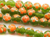 Lime Green w/Orange Flowers Glass Beads 11mm (JV1069)