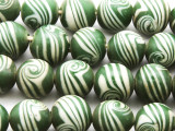 Green w/White Swirl Glass Beads 10-12mm (JV1127)