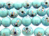 Blue w/Flowers Glass Beads 10-12mm (JV1134)