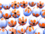 Periwinkle w/Orange Flowers Glass Beads 10-12mm (JV1135)