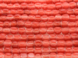 Coral Pink Triangle Glass Beads 6mm (JV1038)