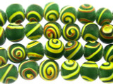 Green w/Yellow & Brown Swirl Glass Beads 8-10mm (JV1092)
