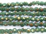 Teal w/Orange & White Polka Dots Glass Beads 4-5mm (JV1044)