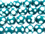 Teal w/White Polka Dots Glass Beads 10-12mm (JV1142)