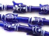 Cobalt Blue w/White Fish Glass Beads 20-28mm (JV1099)