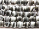 Black w/White Stripes Irregular Round Glass Beads 12-14mm (JV1148)